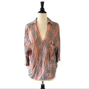 Anthropologie Plaid Twist Shirt by Holding Horses